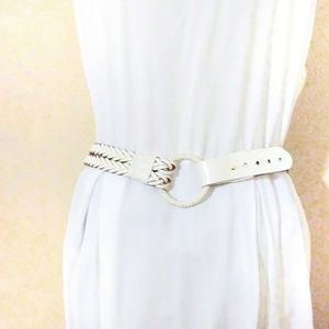 Express White Braided Leather O-Ring Belt